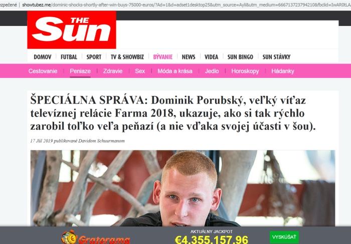 dominik Porubský, podvodný facebook a gratorama
