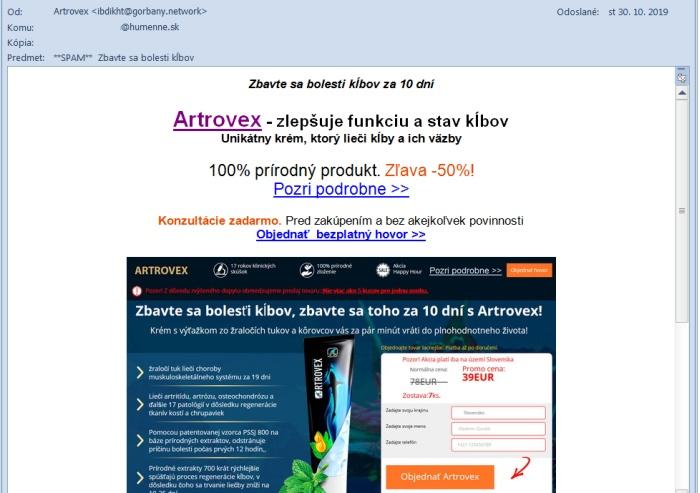 Artrovex spam
