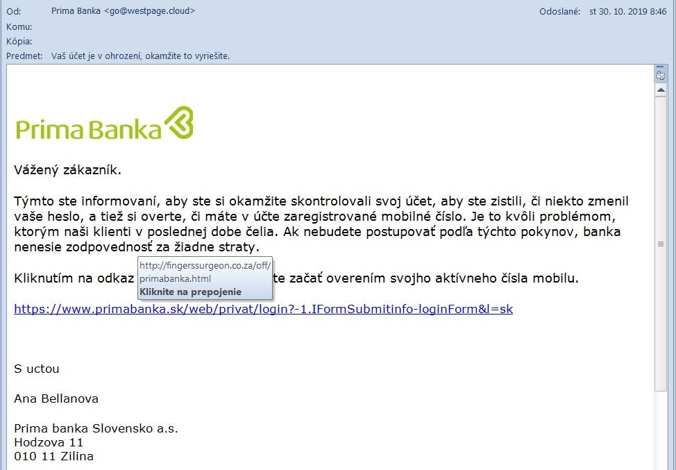 Primabanka falošná