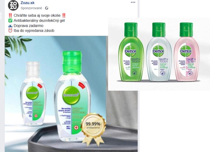 Falošný dettol v ponuke na zozu.sk