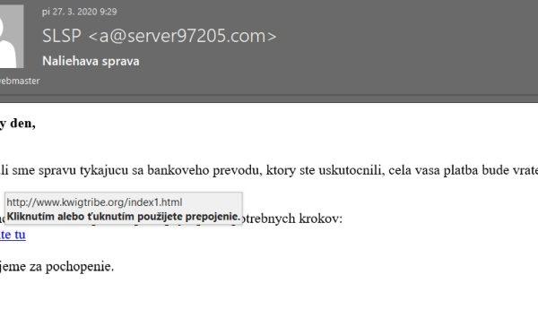 SLSP naliehavá správa, podvodný email