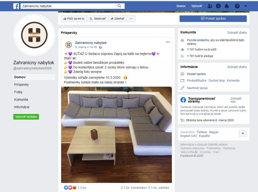 Zahraničný nabytok podvodná facebook sutaz