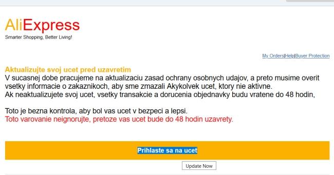 AliExpress podvodný email