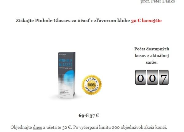 Pinhole Glasses podvodná stránka a predaj