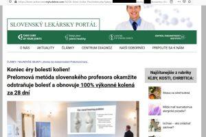 Slovenský lekársky portál, internetový podvod Knee Active Plus