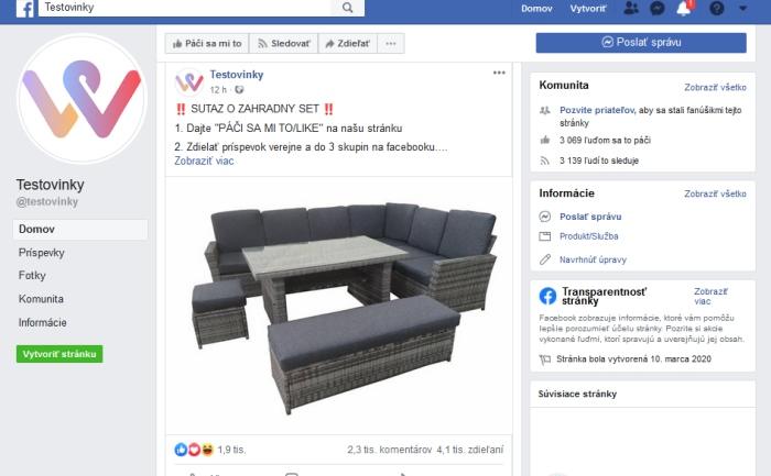 Testovinky podvodná facebook stránka