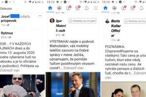 podvodné facebook stránky známych osobností