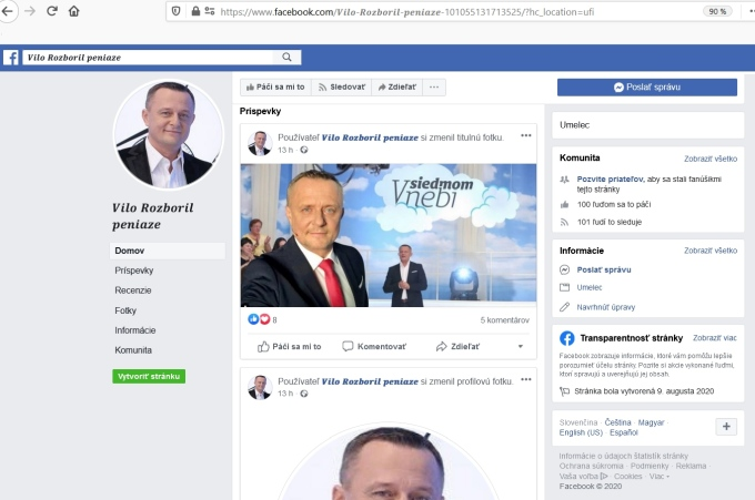 Vilo Rozboril ďalšia podvodná stránka