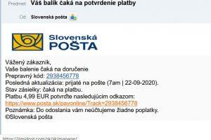 Slovenská pošta scam email