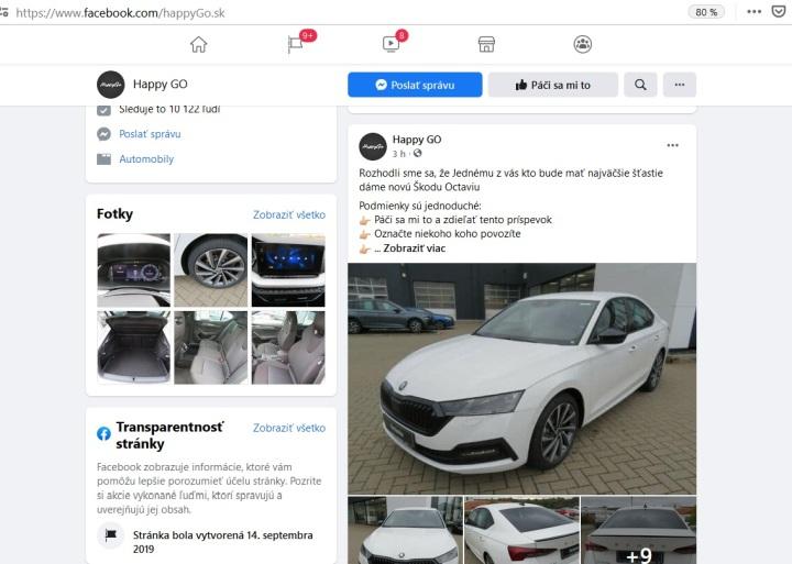 Happy GO podvodná súťaž na Facebooku o auto Škoda Octavia
