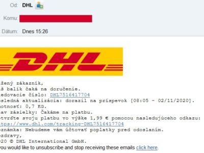 DHl falošný email