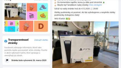 Dnes Sledujem, podvodná facebook stránka a súťaž o PS5