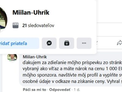 Falošný profil Miilan-Uhrík