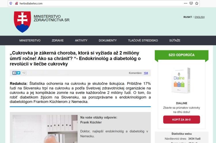 Falošné ministerstvo zdravotníctva, Dialine na cukrovku a falošný lekár Frank Kuchler