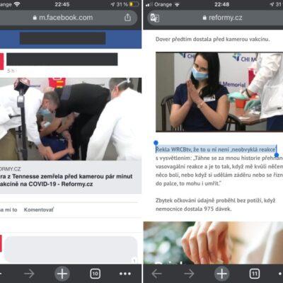 Hoax o tomm, že sestrička v americkom Tenessee zomrela po podaní vakcíny