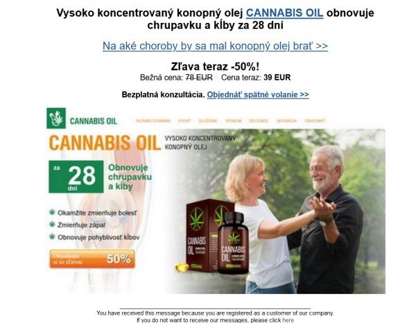 Cannabis Oil podvodný web a prípravok na záchranu kĺbov
