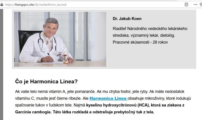 Harmonica Linea., podvodný šmejd a falošní lekár Dr. Jakub Koen