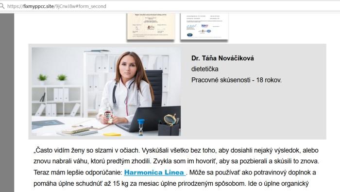 Harmonica Linea., podvodný šmejd a falošní lekár Dr. Táňa Nováčiková