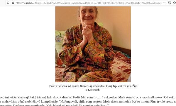 Vymyslená pacientka, podvodného lieku DIALINE na diabetes, falošní lekári