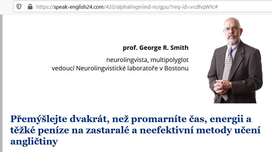 profesor George SMith z Bostonu, podvod Alpha Lingmind