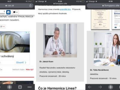 Harmonica Linea., podvodný šmejd a falošní lekári