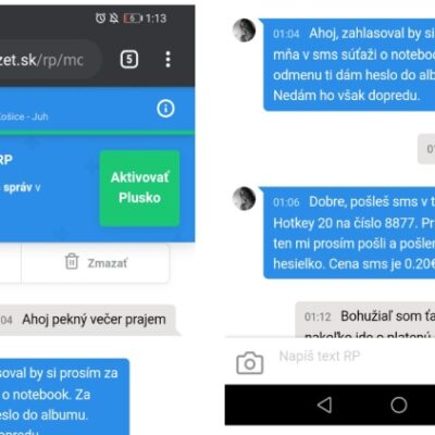 podvodné správy na vylákanie spoplatnenej SMS na 8877