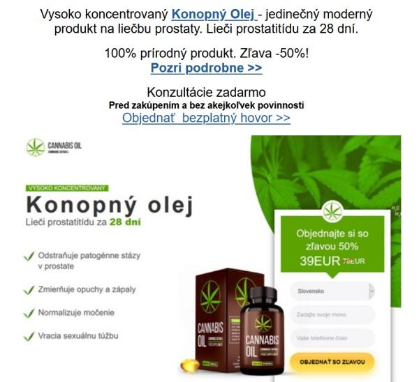 Cannabis oil, konopný olej na prostatídu