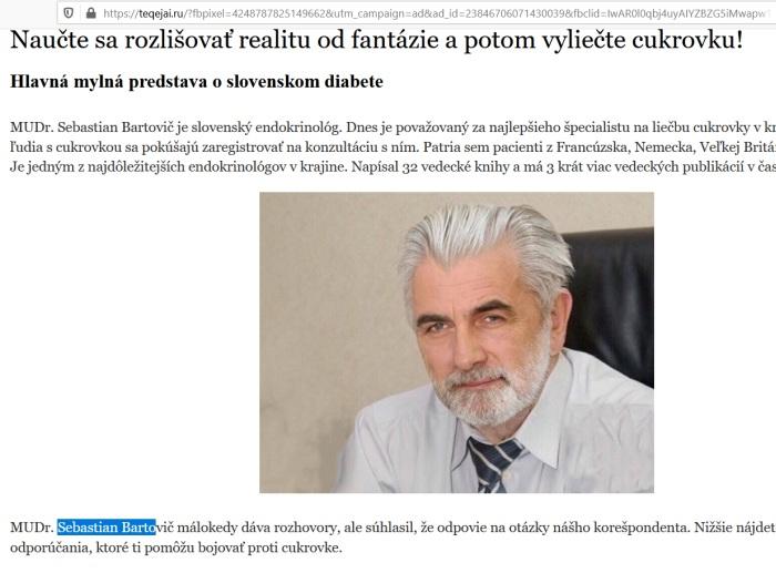 MUDR sebastian bartovič, podvodné DIALINE liek na cukrovku, falošný lekár