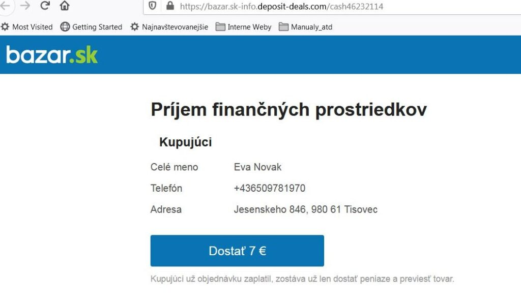 Podvodník na bazar.sk, falošný platobný systém