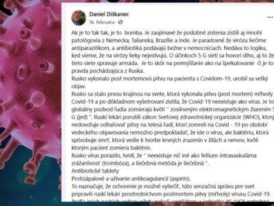 pan Daniel tvrdí hoax, bludy o ruských vedcoch