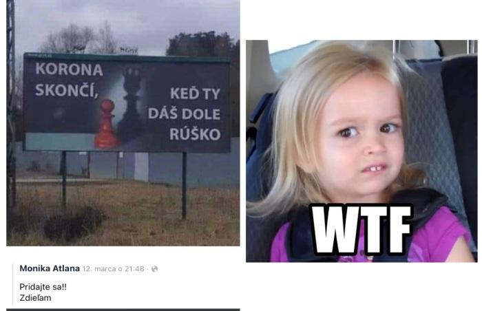 """Billboard s textom """"Korona skončí, keď ty dáš dole rúško""""... ach!"""