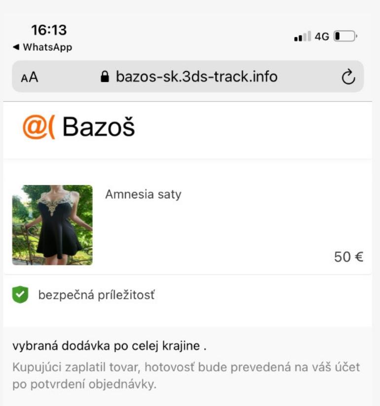 Bazoš.sk falošná brána na zaplatenie a príjem peňazí