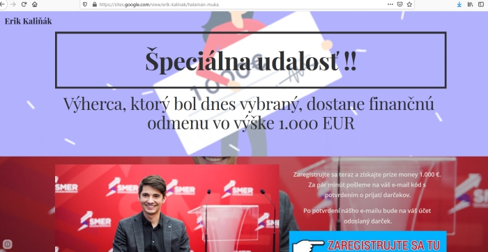 Erik Kaliňák falošná súťaž