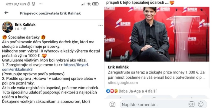 Erik Kaliňák falošný príspevok Facebook