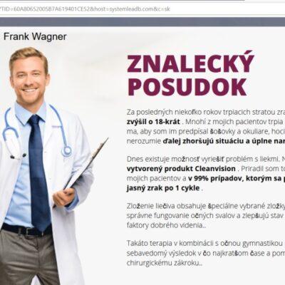 Oculax CleanVision liečba očí, falošný lekár Frank Wagner