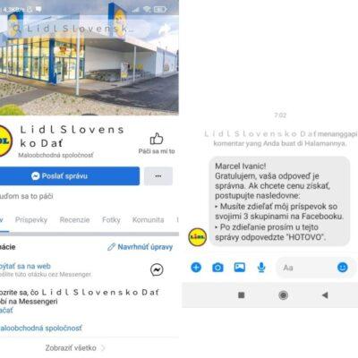 Falošný LIDL na Facebooku