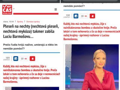 Lucia Barmošová zenužitá podvodníkmi a Fungosis Gel