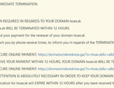 predlženie domeny hoax