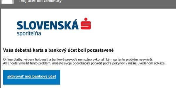 Slovenská sporiteľňa pishing, falošný email