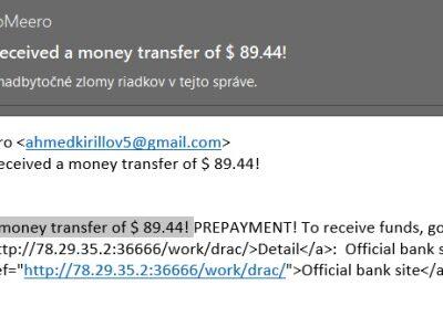 posielajú vám peniaze