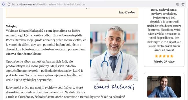 Flexa Fit podvodníci a choré kĺby, lekár Eduard Klačanský