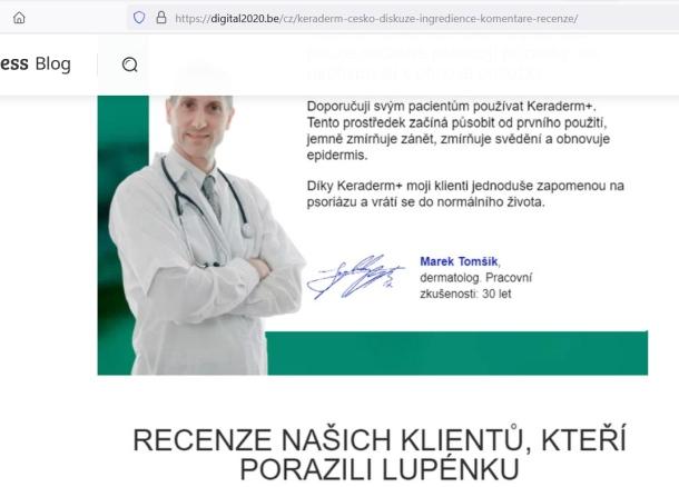 Keraderm a upozornenie na Novotný, dermatológ