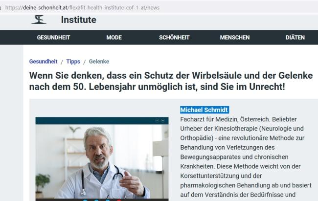 Flexa Fit podvodníci a choré kĺby, lekár Michael Schmidt