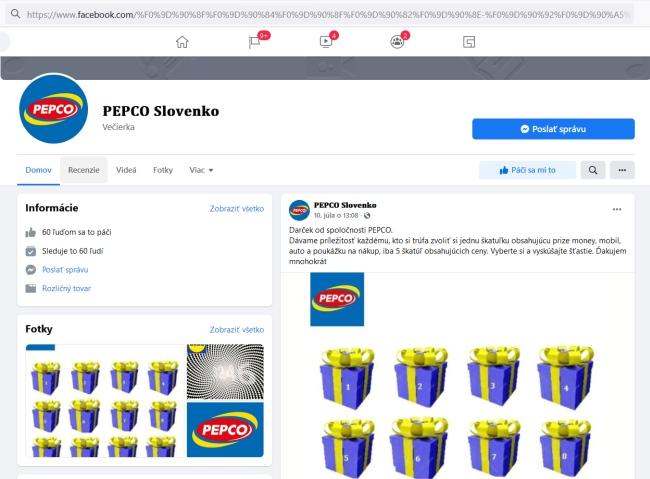 Pepco Slovenko podvodná stránka