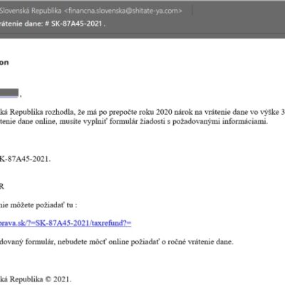falošný email od Finančná správa slovenskáý republika, podvodný email