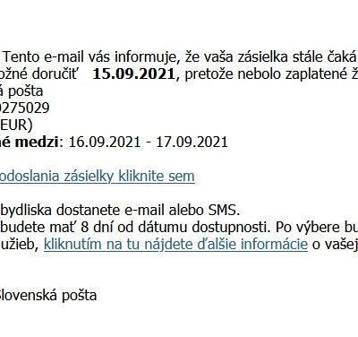 Slovenská pošta podvodné emaily september 2021