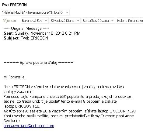 Hoax o Ericsson laptotoch z roku 2000