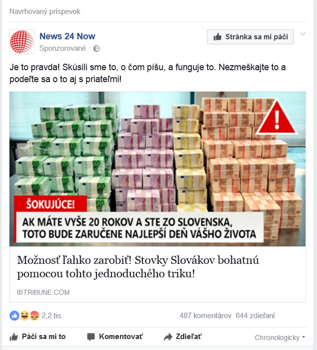 podvodné peniaze od News 24 Now