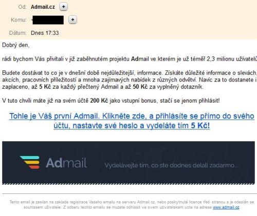 Admail posielaný spam