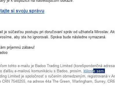 Badoo a odhlásenie emailov